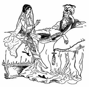 Imagen de Sherezade con el sultán.