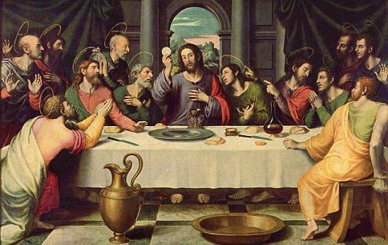 Jesucristo en la última cena con sus apóstoles.